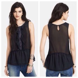 Free People paint the town tuxedo ruffle top black